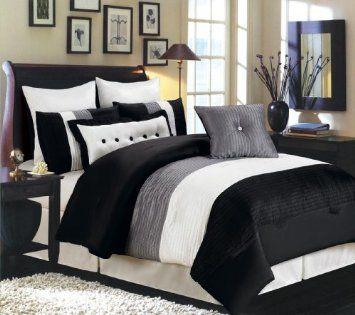 8 pcs Faux Silk Bella Comforter set Black Grey and White Striped King Size