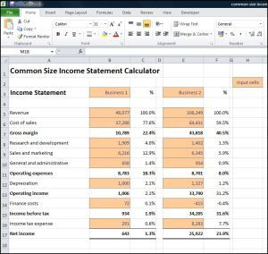 The Common Size Income Statement Calculator Uses Standard Income