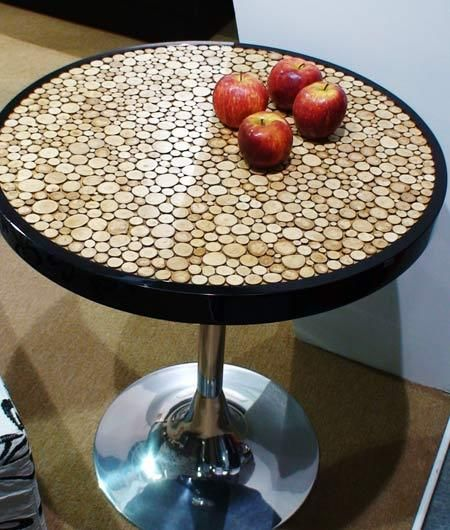 Wine Cork Table Design: Sliced Wood Table Top - Or Use Corks!