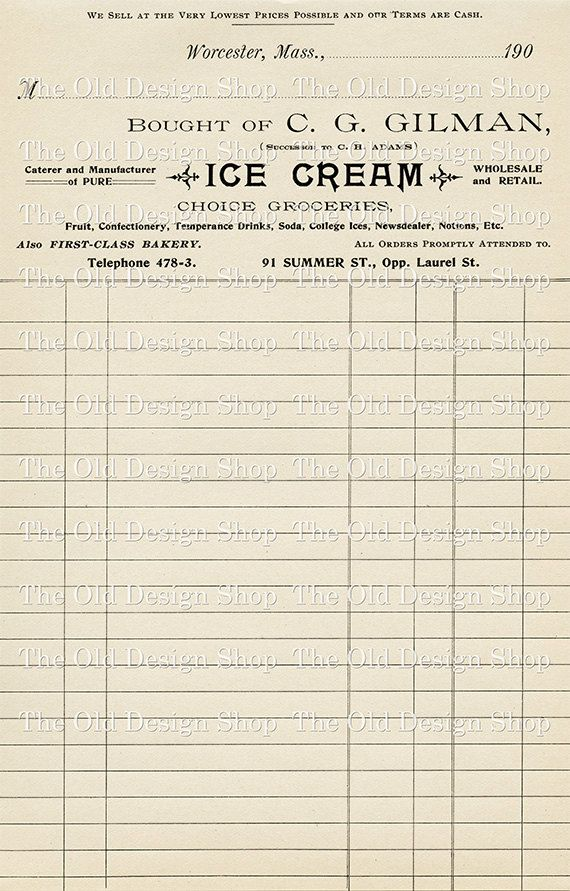 Vintage Invoice Receipt Ice Cream Digital Printable Clip Art Image   Written  Invoice  Written Invoice