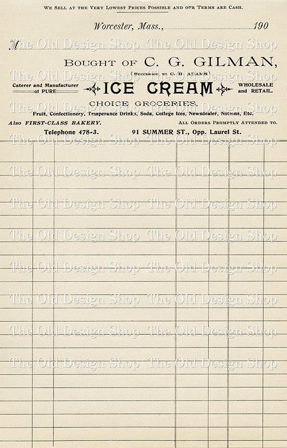 Vintage Invoice Receipt Ice Cream Digital Printable Clip ...
