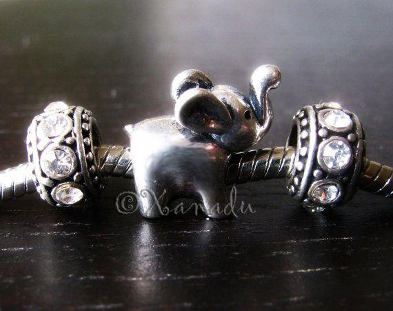 Elephant Pandora Style bead w/ Crystal Accents :)