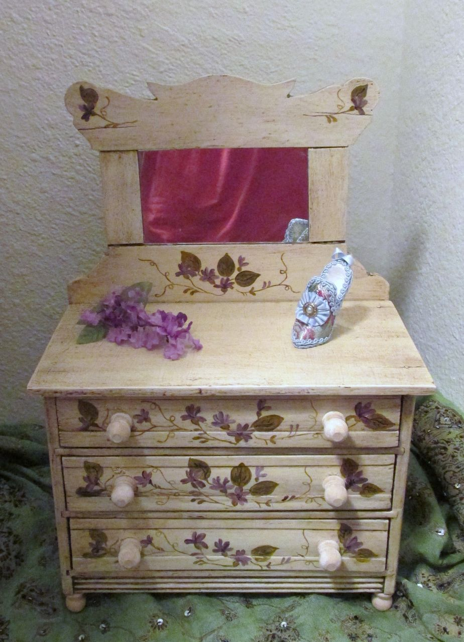 Antique Wooden Doll Dresser With Lovely Hand Painted Tole Violets   Found UNDER THE LILACS on Ruby Lane  http://www.rubylane.com/shop/underthelilacs