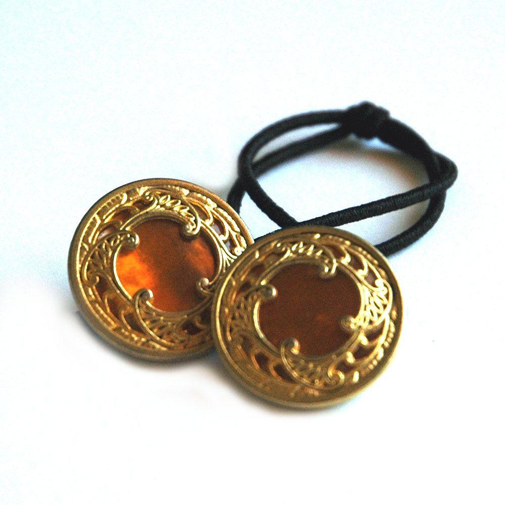 Vintage hair accessory holder - Ponytail Holder Hair Accessory Vintage Buttons