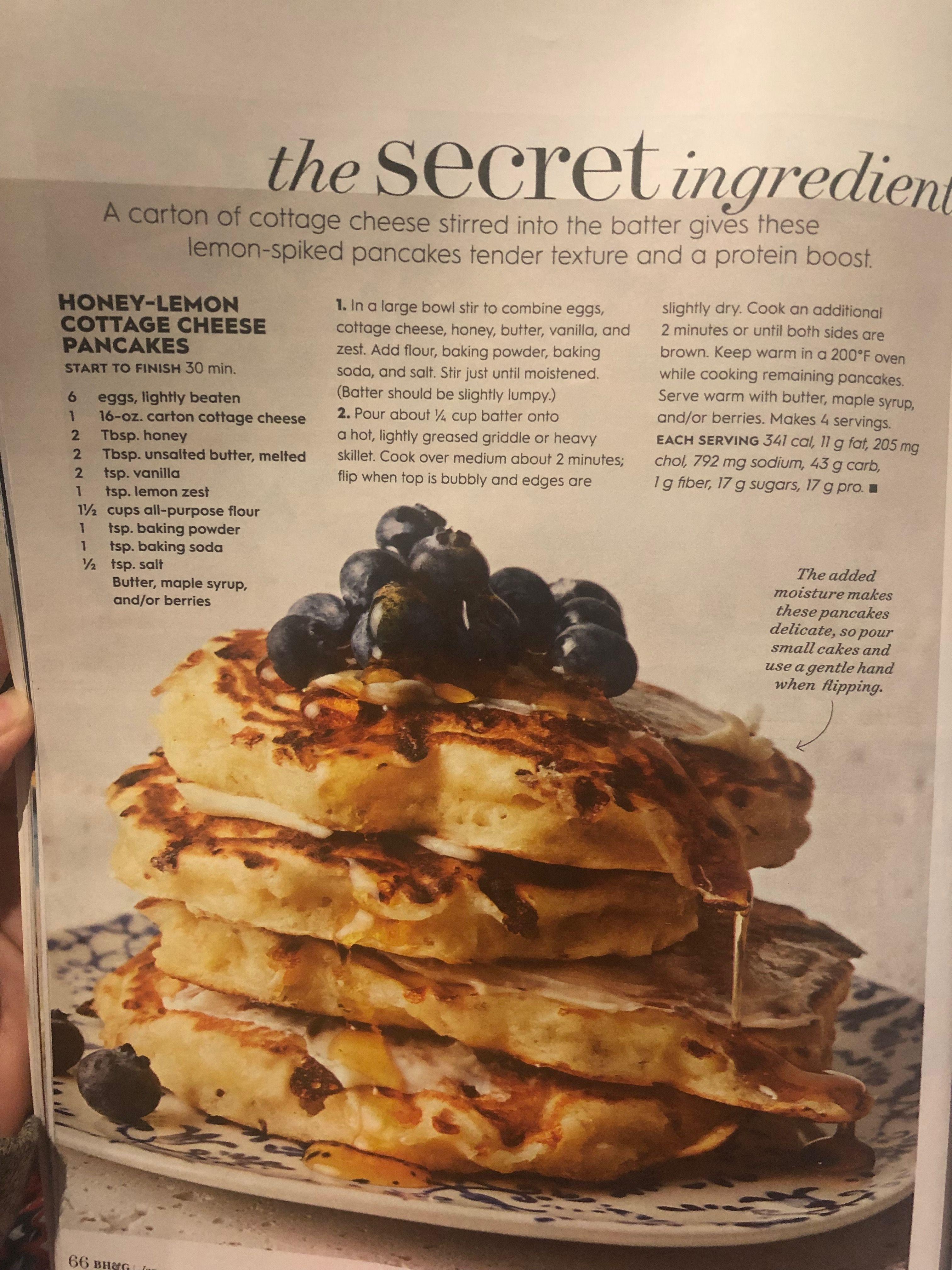 Honey Lemon Cottage Cheese Pancakes Recipe Good Housekeeping January 2019 Cottage Cheese Pancakes Cheese Pancakes Homemade Recipes