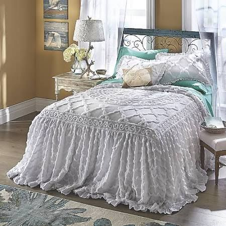Angelica Ruffle Chenille Bedspread King White Bedroom furniture