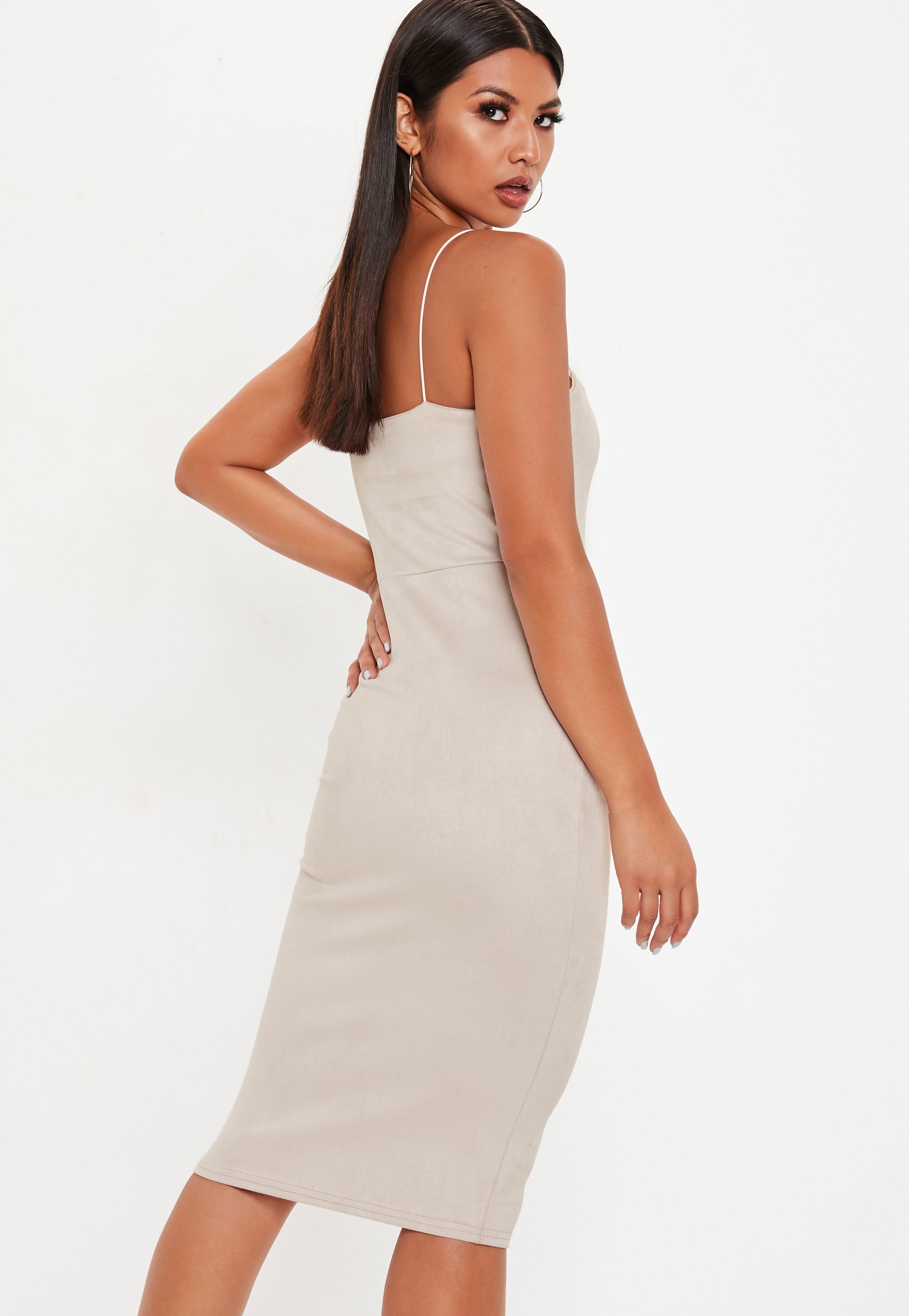 1aa90e600bf9 Nude Strappy Square Neck Suedette Midi Dress #Sponsored #Square, #AD, #