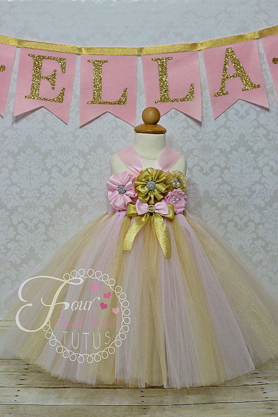 79151de197 Princess Birthday Outfit Pink and Gold by FourSweetHeartsTutus ...