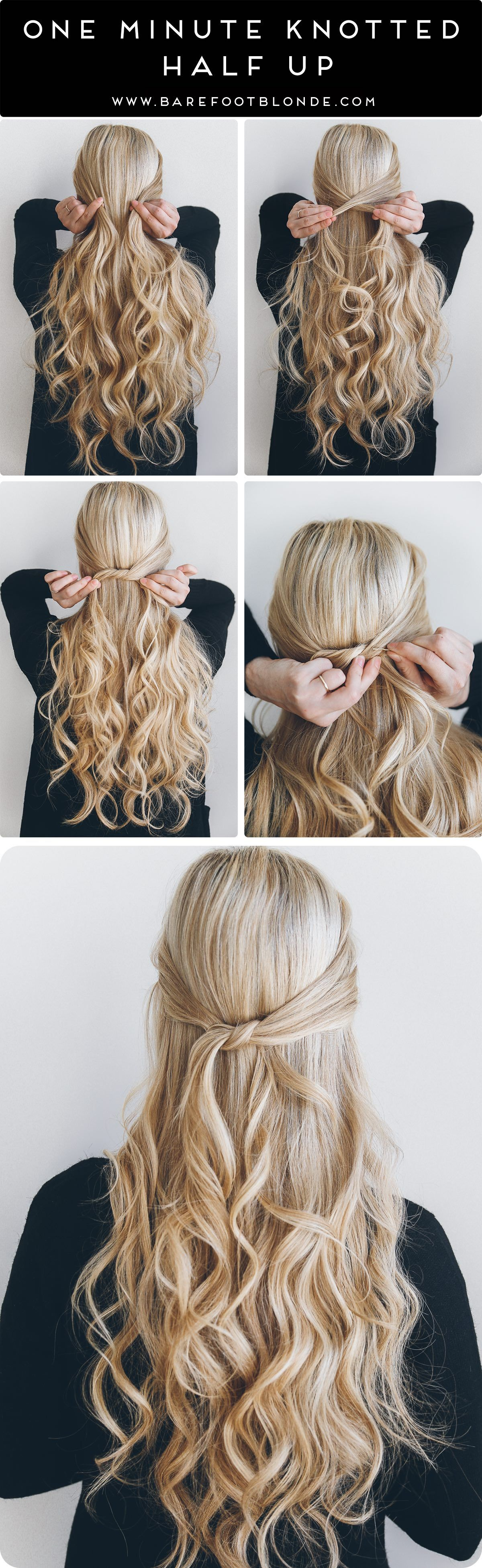 Hairstyle ideas quick easy hair half up knotted hairstyles blonde also rh pinterest