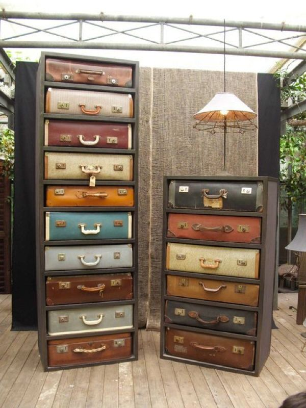 repurposed old suitcases - 8 Fascinating DIY Tips for Your Home - now THAT is creative!