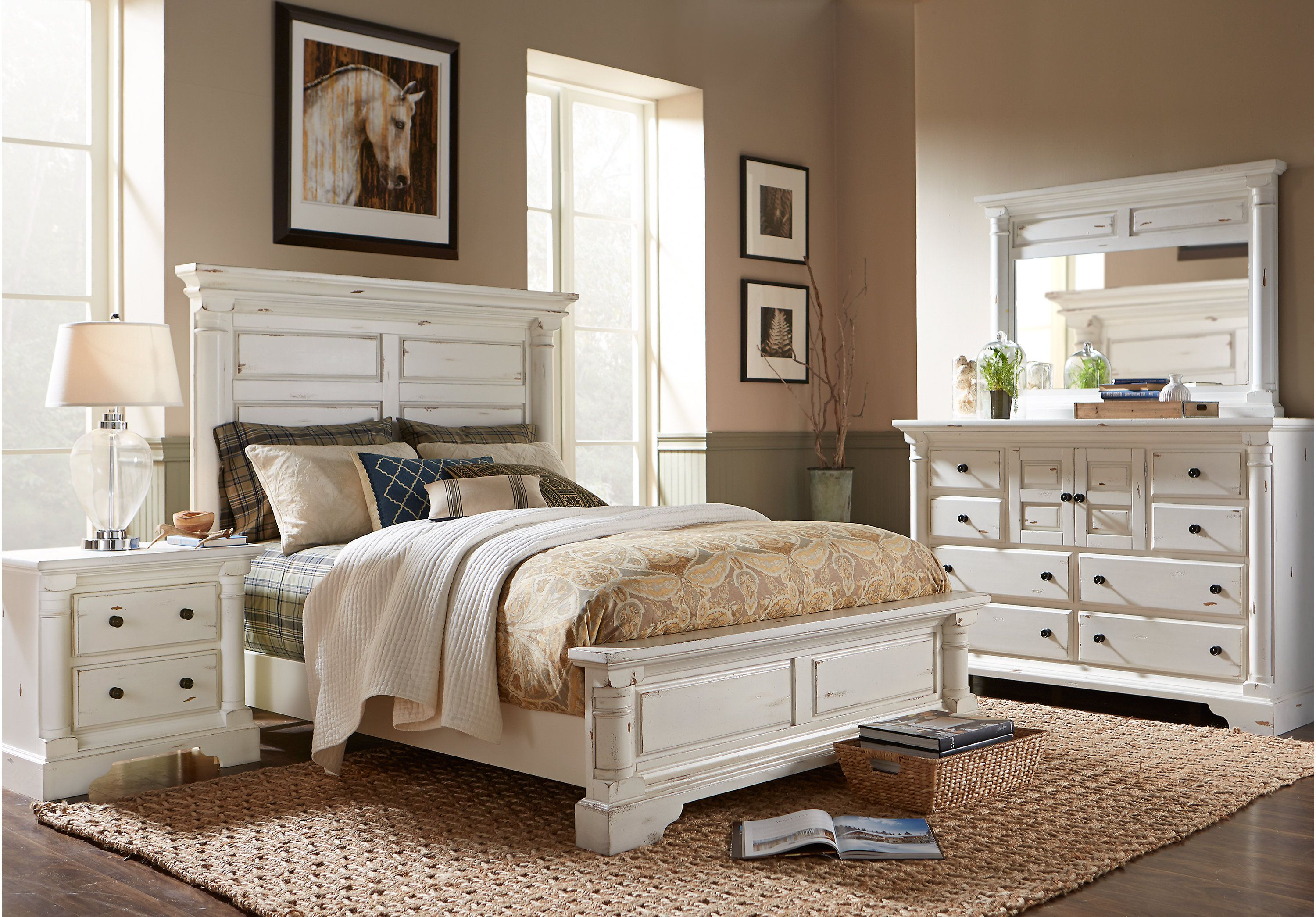 2300 claymore park off white 8 pc king panel bedroom from king
