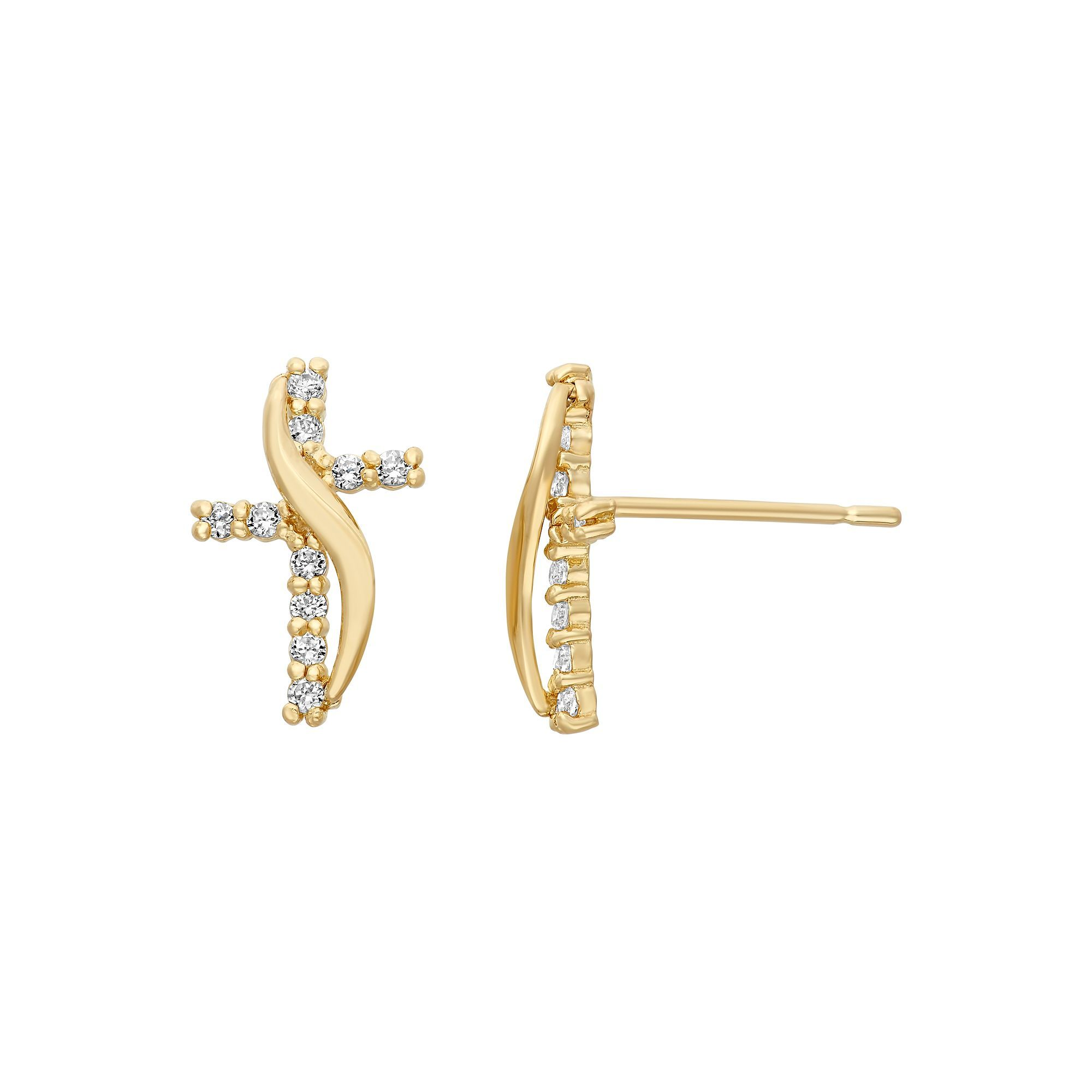 3b0f9b1d3 Junior Jewels Cubic Zirconia 14k Gold Cross Stud Earrings - Kids, Girl's,  White