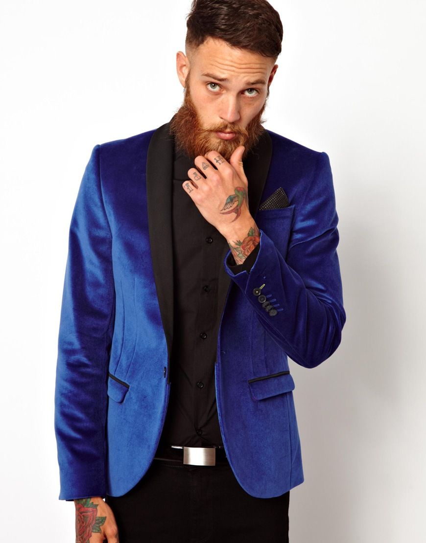 Image 1 of Noose & Monkey Skinny Blazer In Velvet | Men's fashion ...