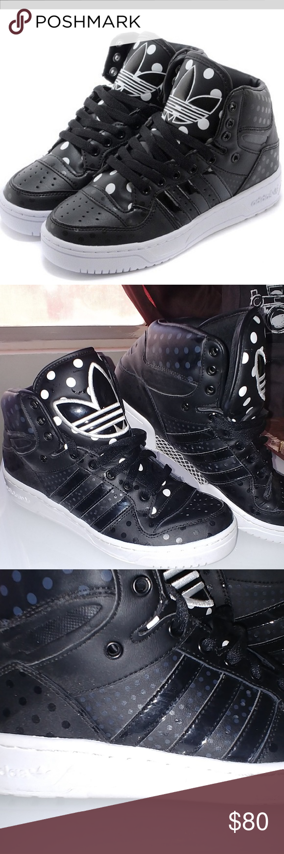 new concept 4d3bd cbbcc {Adidas} attitude logo hi top polka dot Size 9 womens I have been told  these are rare and sold out?! These are super cute but I just never wear  them Very ...