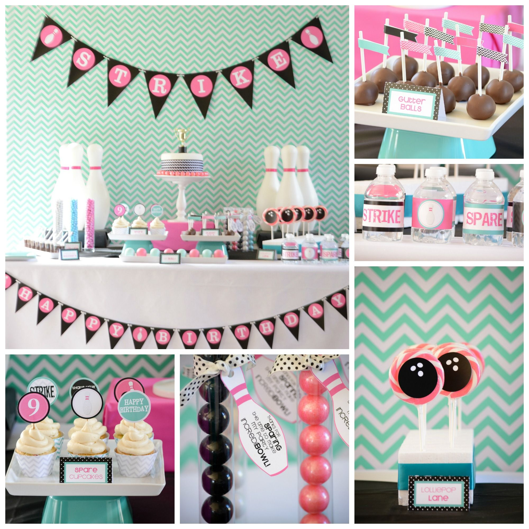 Bowling Birthday Party Ideas And Tips Pretty Perfect Party Ideas Bowling Birthday Party Bowling Party Bowling Party Ideas Girls