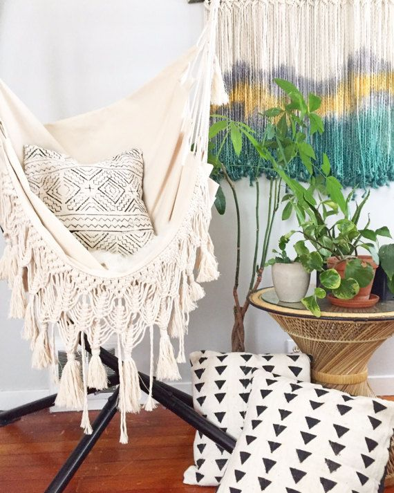 hanging chair home goods slipcover for and a half t cushion hammock with macrame fringe serenity cool ideas fringeserenity by ofquartzinteriors