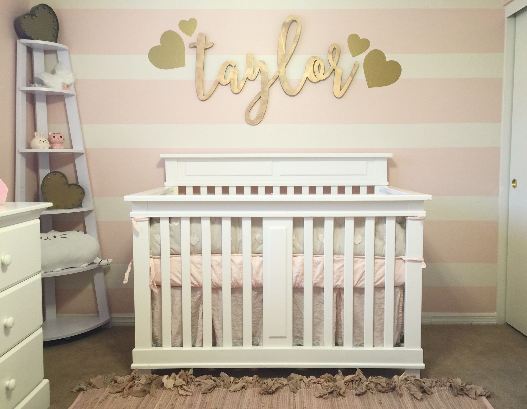 Pink and gold nursery for our baby girl pink and cream Nursery wall ideas