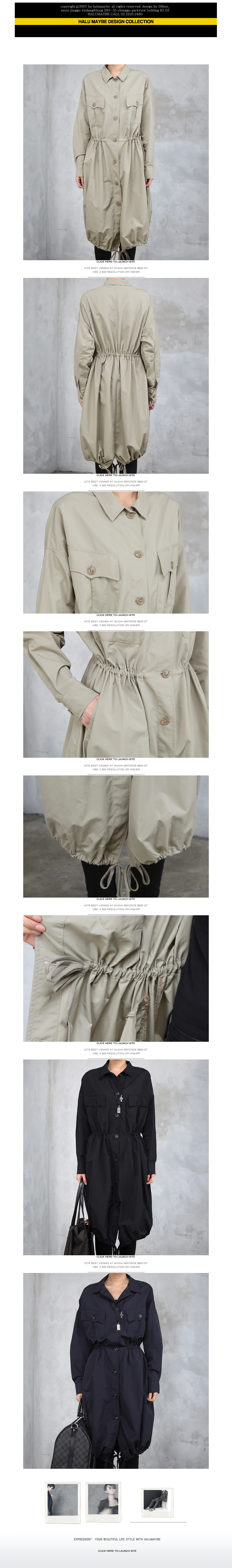 Drawstring-Hem Long Coat - HALUMAYBE | YESSTYLE Australia