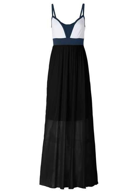2b094bc2b71d Chiffongklänning mörk orange/blå/vit beställa online - bonprix.se ...
