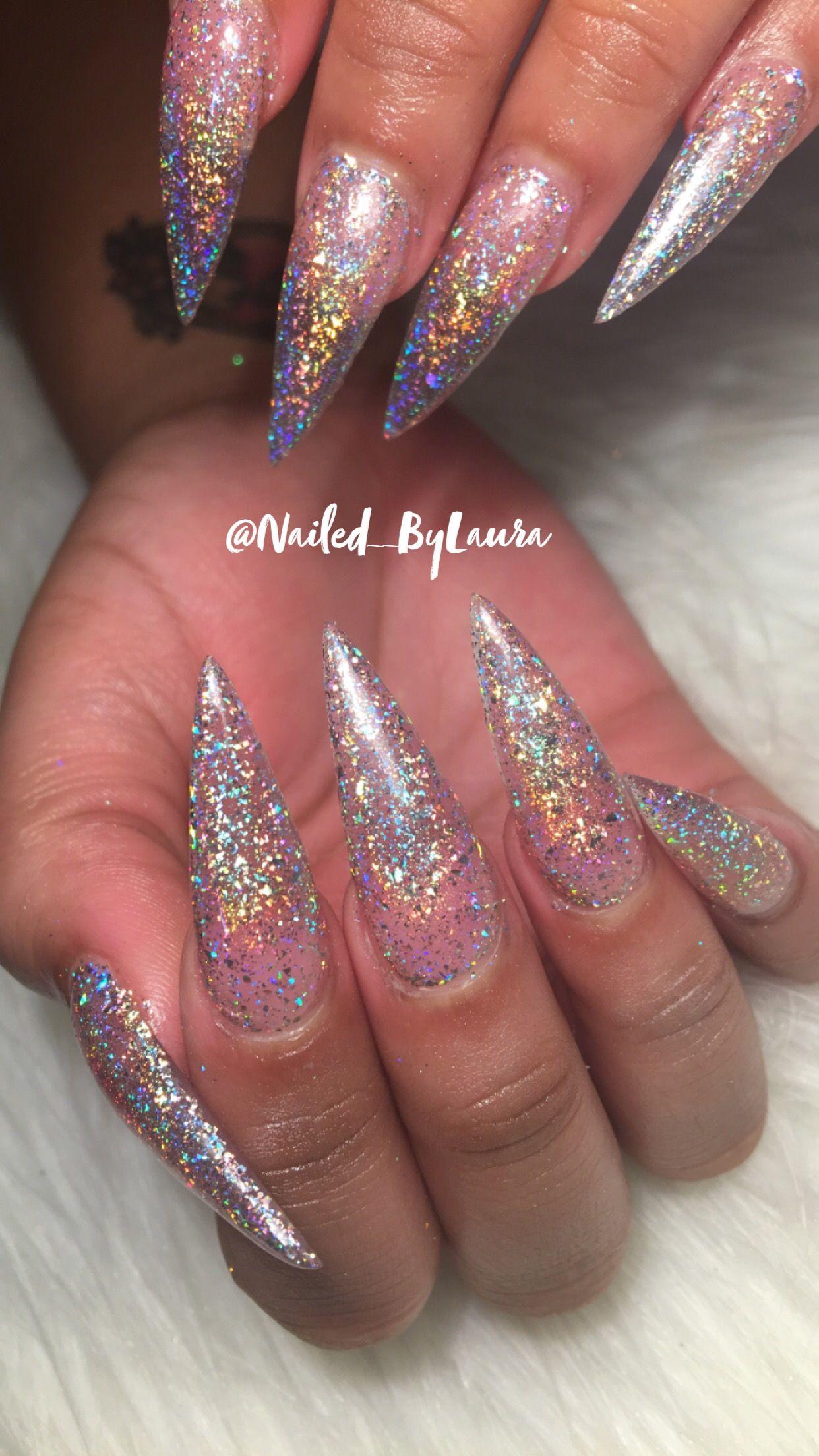 Custom long silver glitter stiletto nails | Stiletto nail