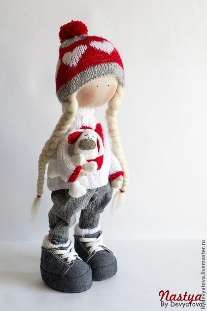 Настя. Авторская кукла. - ярко-красный,белый,косички,ботиночки,собака