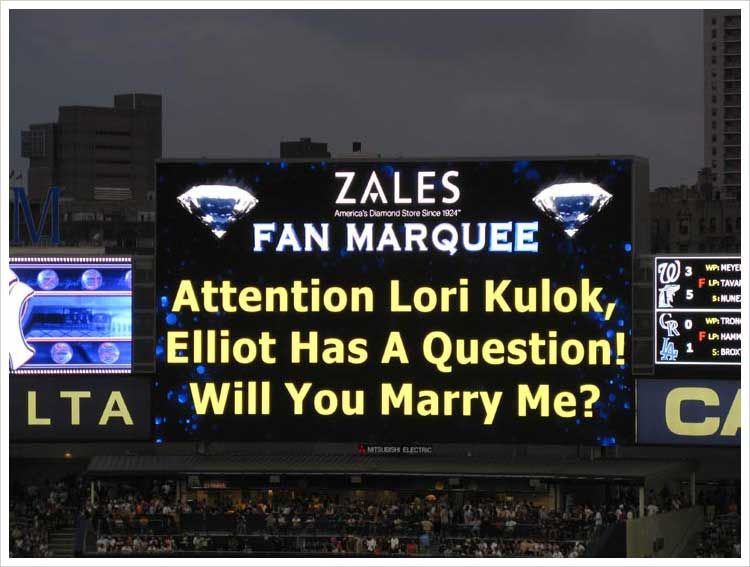 「baseball game proposal on display」の画像検索結果