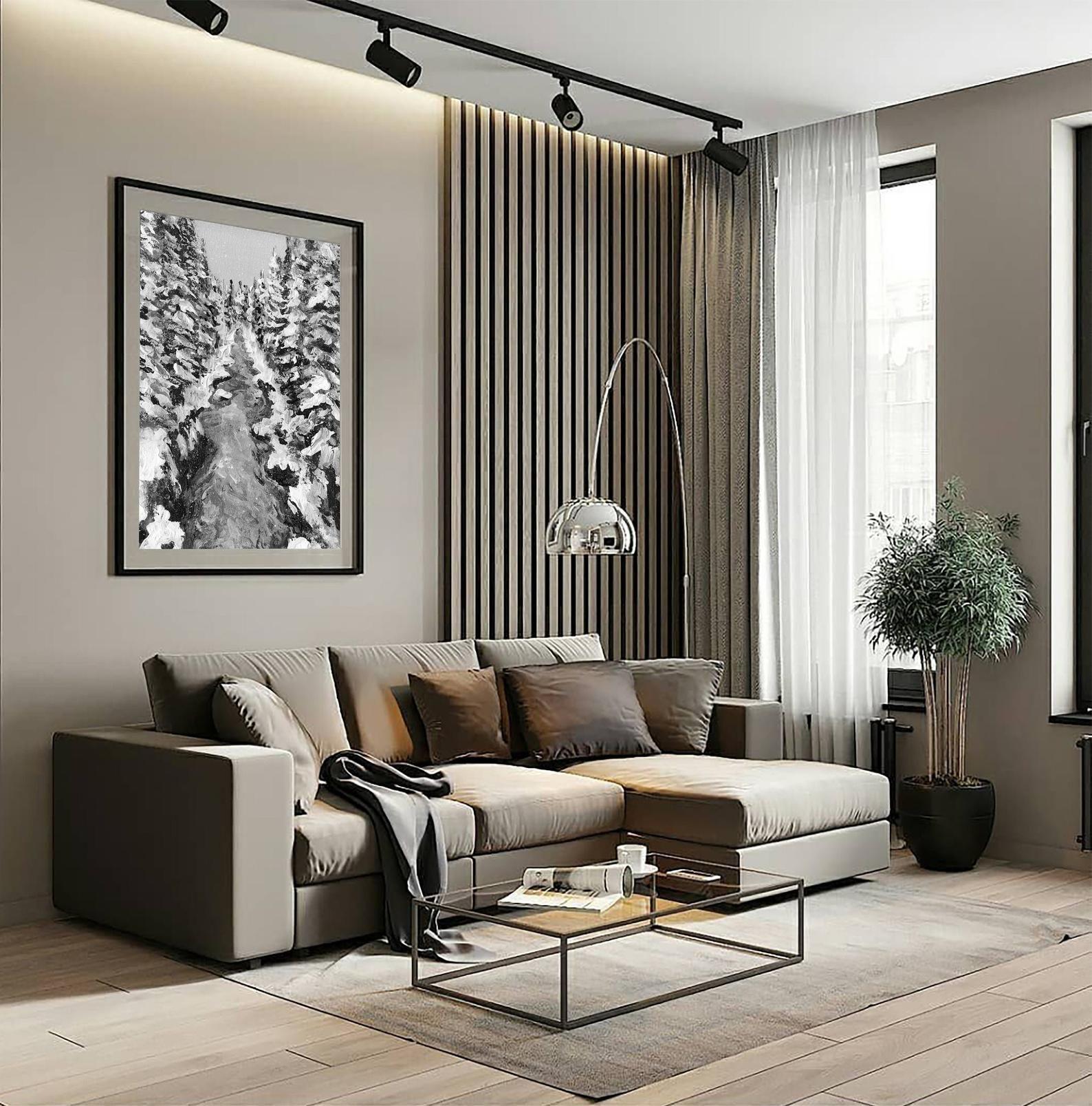 Digital Printing Of The Original Acrilic Painting Winter Etsy In 2021 Living Room Design Modern Minimalist Living Room Decor Minimalist Living Room