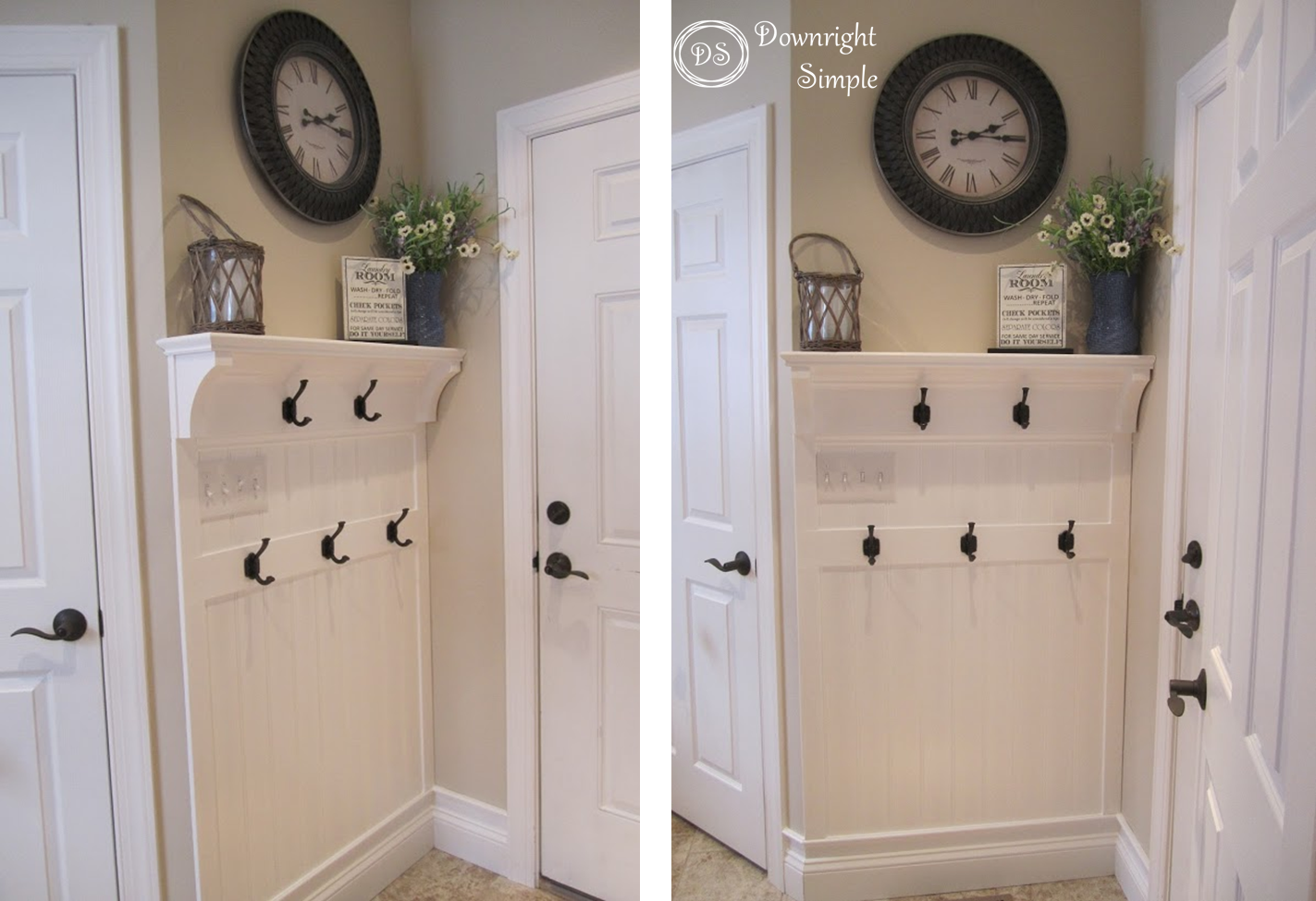 Hallway hooks and storage  Creating a kid friendly area for coats backpacks and shoes was the