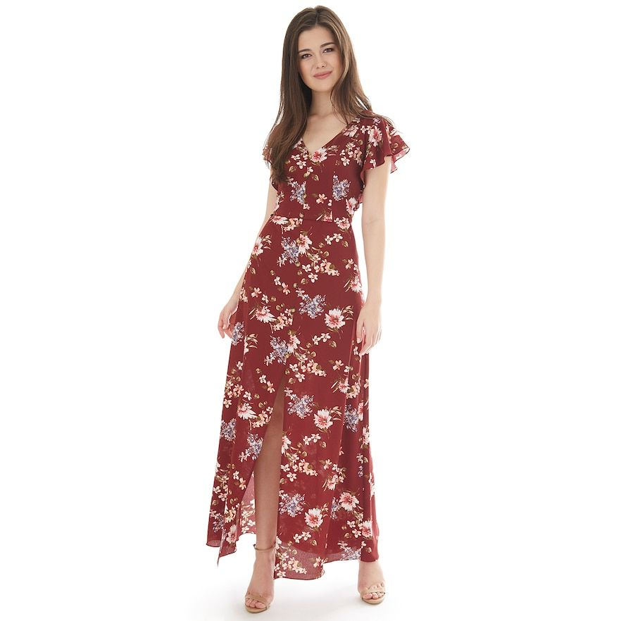 d5ff9a360 Juniors' IZ Byer Flutter Sleeve Bar Back Maxi Dress, Teens, Size: XS,  Burgundy Floral