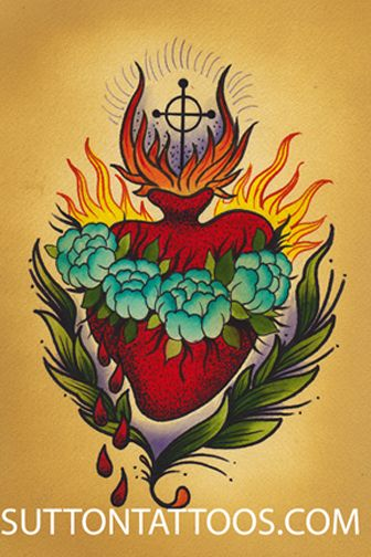 Pin by Jen Fode on Tattoos | Sacred heart tattoos, Tattoos