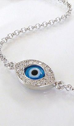 Silver evil eye bracelet <3