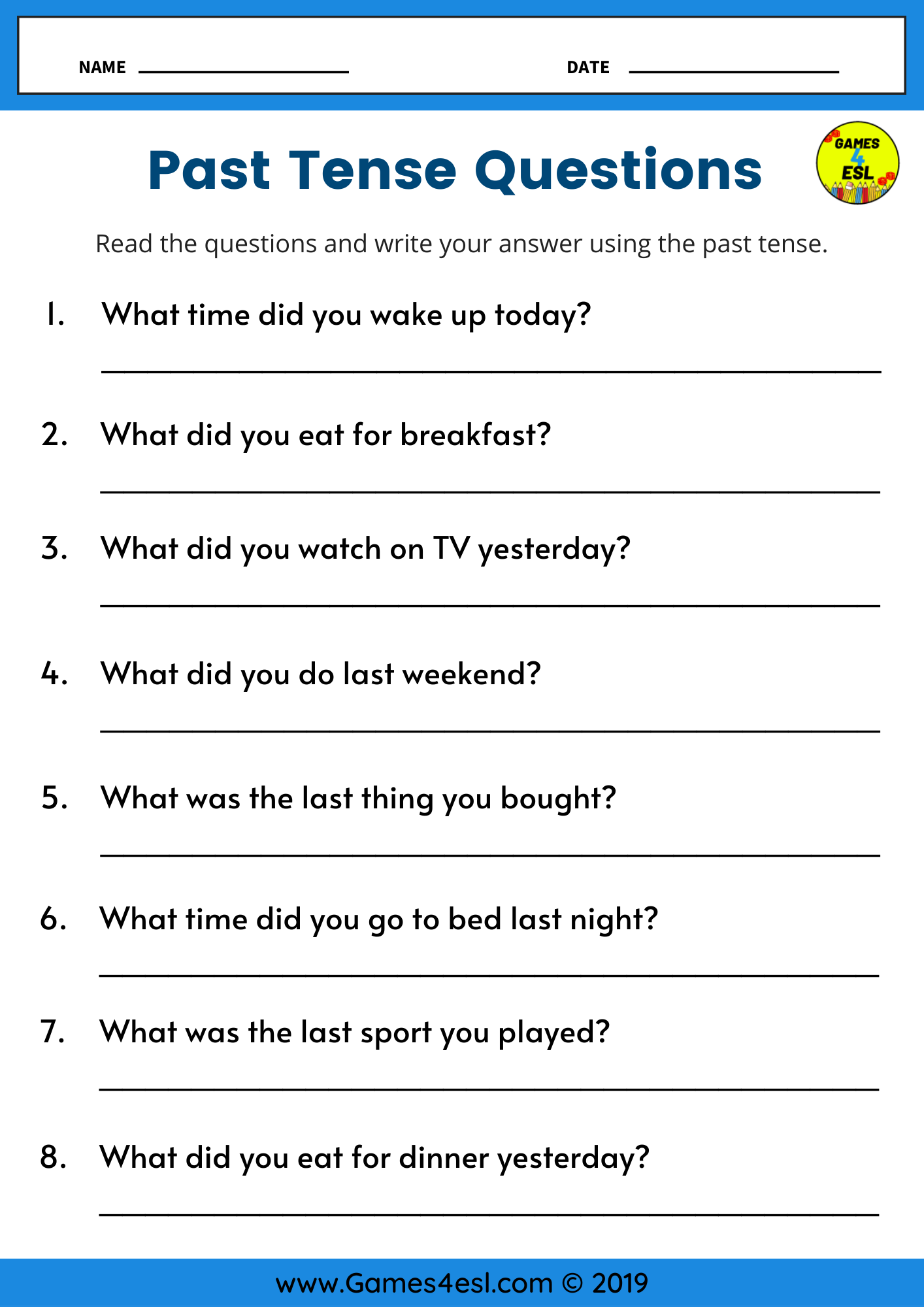 Past Tense Writing Worksheet