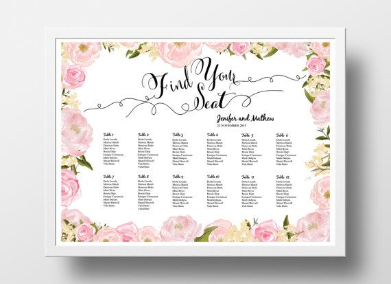 Wedding seating chart poster template table plan printable instant download diy  and  powerpoint floral pink also rh pinterest