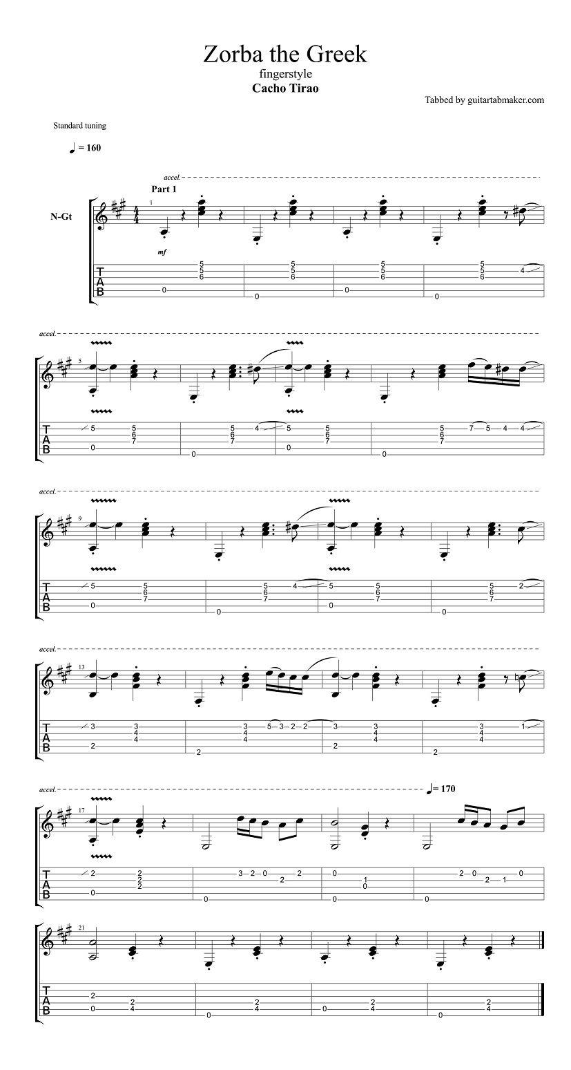Zorba the greek guitar pdf book