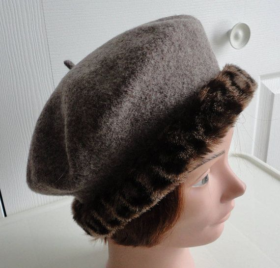 80s Mottled Brown Wool Beret Women Hat 10 inches diameter  17688700f892
