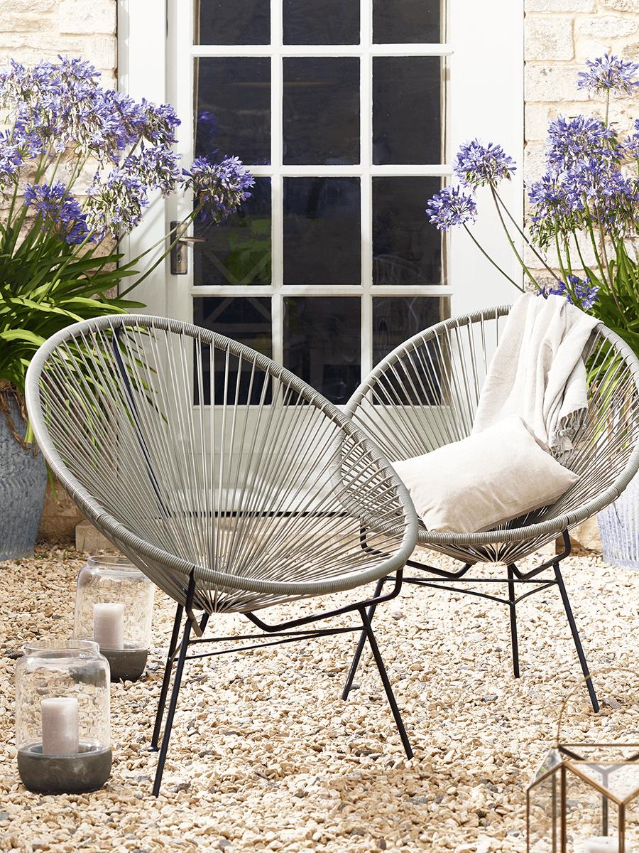 Indoor Outdoor Grey String Chair   Garden Chairs, Benches U0026 Loungers    Outdoor Garden Furniture