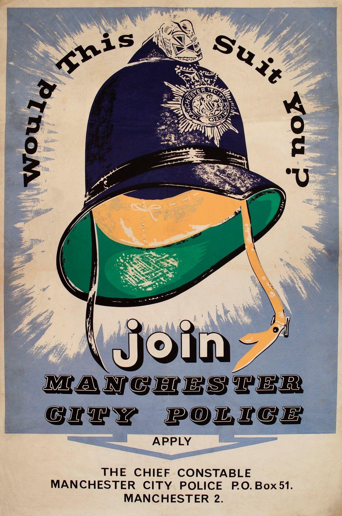 Recruitment poster Manchester City Police circa 1964