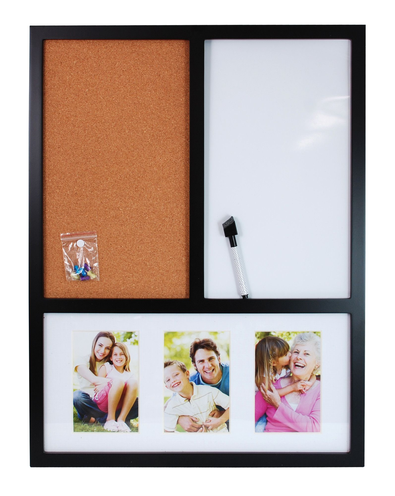 Memo Board with Dry Erase and Cork Wall Mounted Combination Boards, 2' H x 2' W