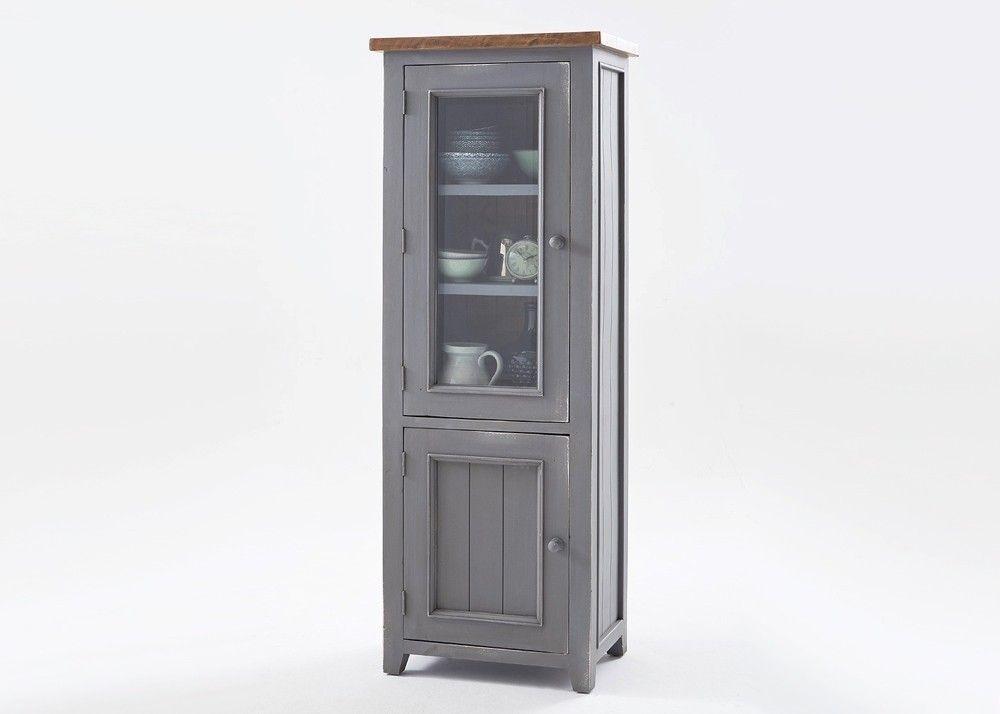 Vitrine Landhausstil Byron Holz Massiv Grau mit Vintage Braun - k che eiche s gerau