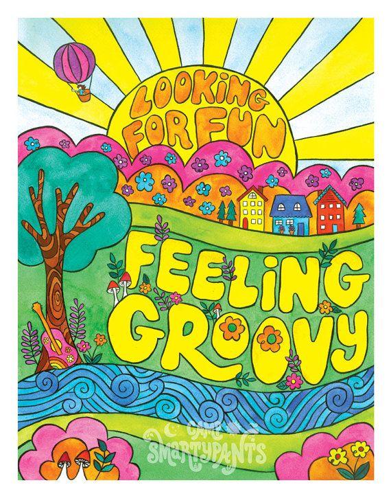 630f1fc985 Looking For Fun, Feeling Groovy - 11 x 14 print #art #illustration  #watercolor #groovy