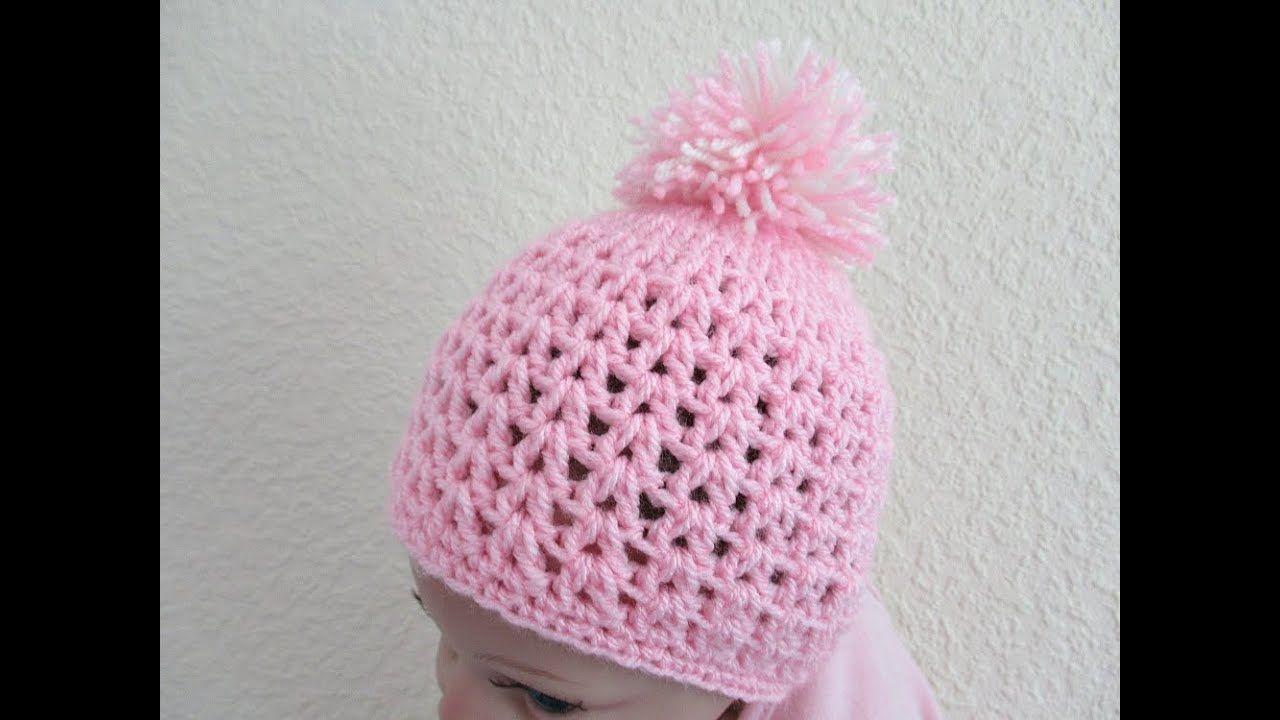 Easy Crochet Baby Beanie Hat 0 6 Months 12 15 Pom Pom Tutorial