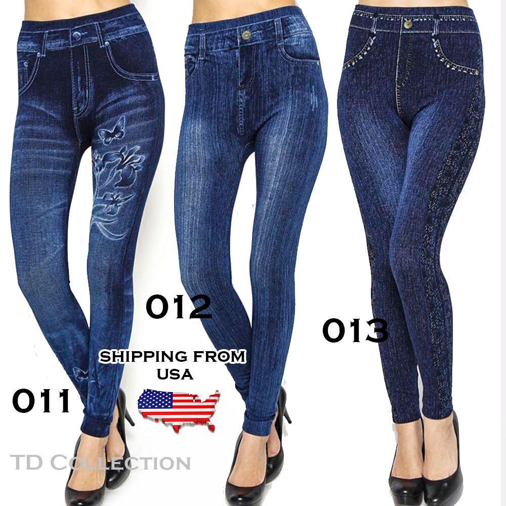 Women Denim Jeans Sexy Skinny Leggings Jeggings Tigh Stretch Pants Trousers #TD #Leggings
