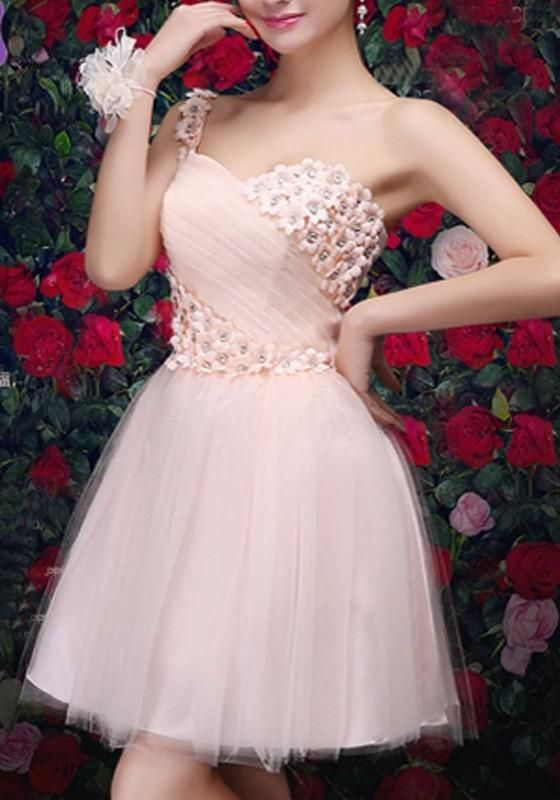 Pink Floral Lace Grenadine One-shoulder Bridesmaid Tulle Tutu Sweet Patchwork Mini Dress