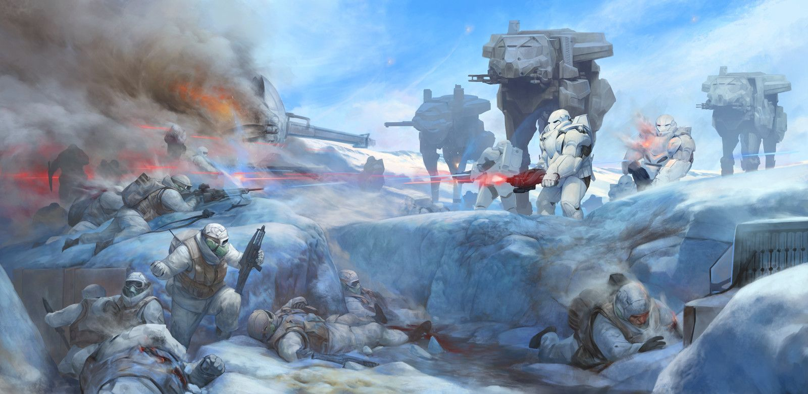 Battle on planet Hoth, Stepan Alekseev on ArtStation at https://www.artstation.com/artwork/rOXn5