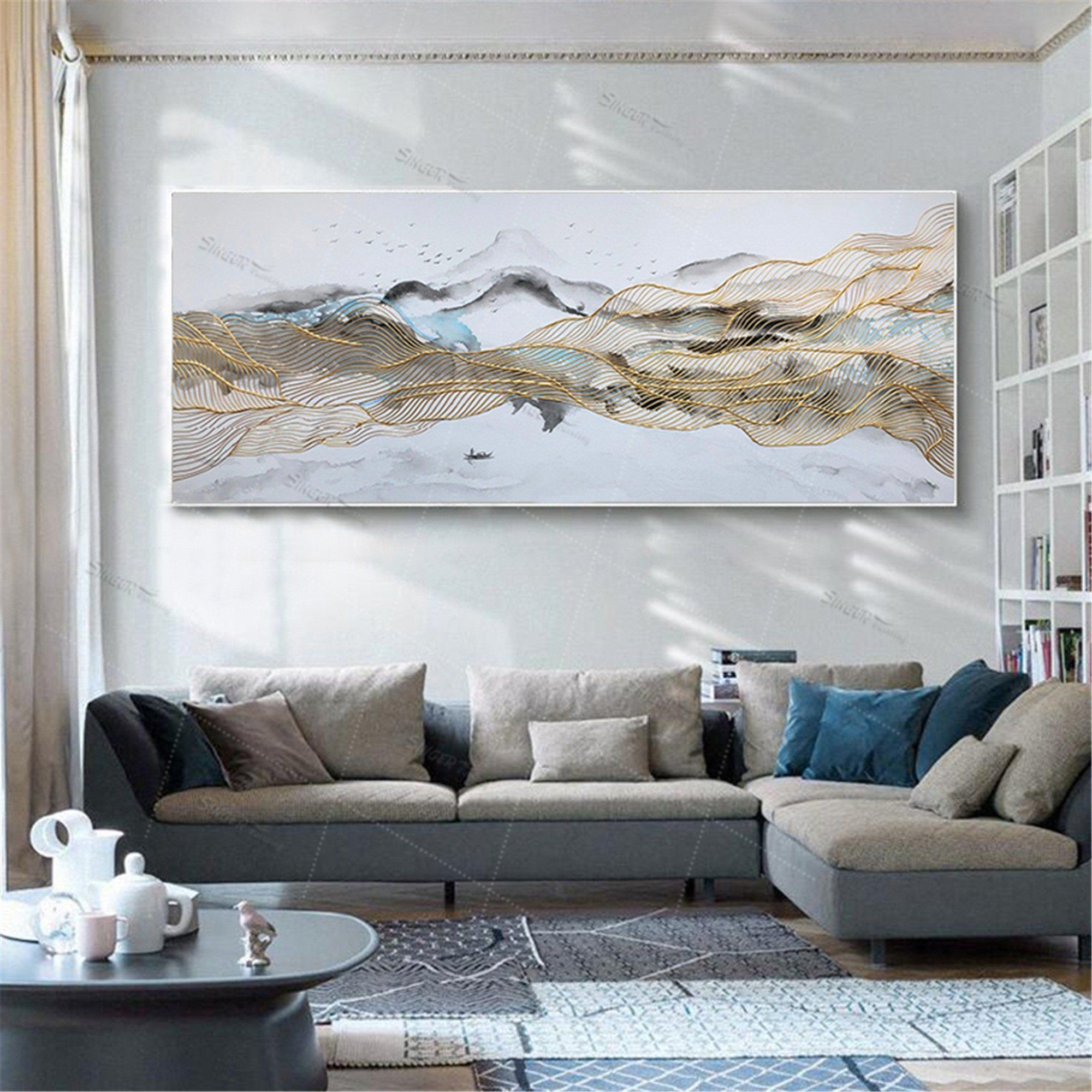 Abstract Mountain Painting Acrylic Canvas Wall Art Picture For Etsy Large Paintings Living Room Canvas Wall Art Living Room Living Room Pictures