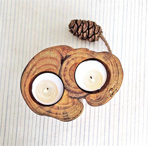 Natural unique wooden candle holder votive