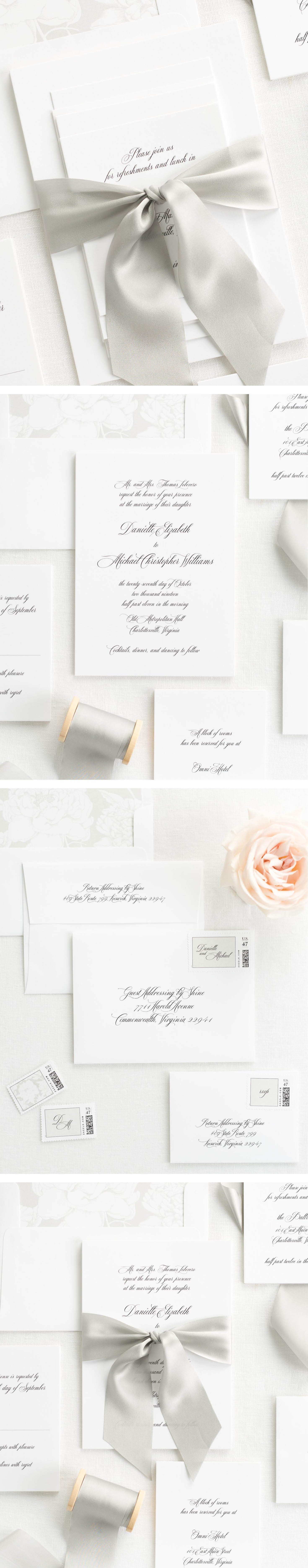 Danielle Ribbon Wedding Invitations Shine Wedding Invitations