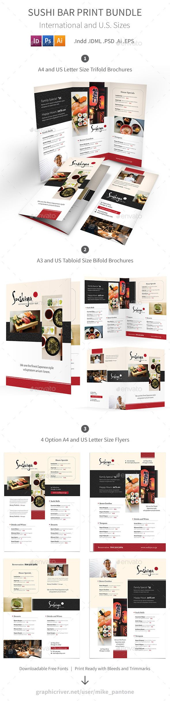 Sushi Bar Menu Print Bundle