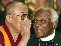 """""""I give great thanks to God that he has created a Dalai Lama. Do you really think, as some have argued, that God will be saying: 'You know, that guy, the Dalai Lama, is not bad. What a pity he's not a Christian'? I don't think that is the case - because, you see, God is not a Christian.""""- Archbishop Desmond Tutu"""