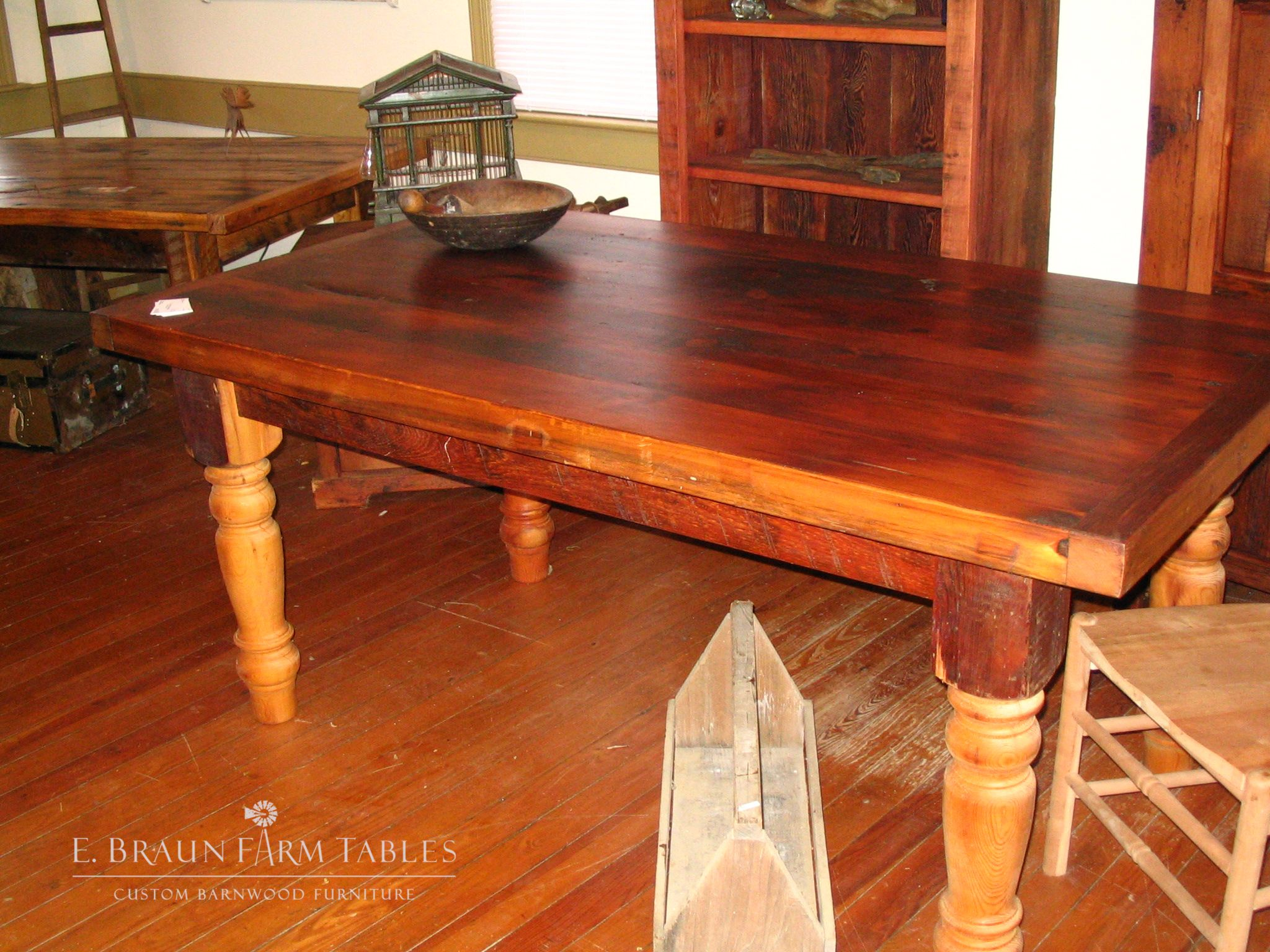 """72""""L x 39""""D (3"""" thick pine top) farm table with 5"""" turned"""